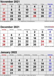 3 months calendar November/December 2021& January 2022 in portrait format