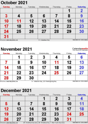 3 months calendar October/November/December 2021 in portrait format