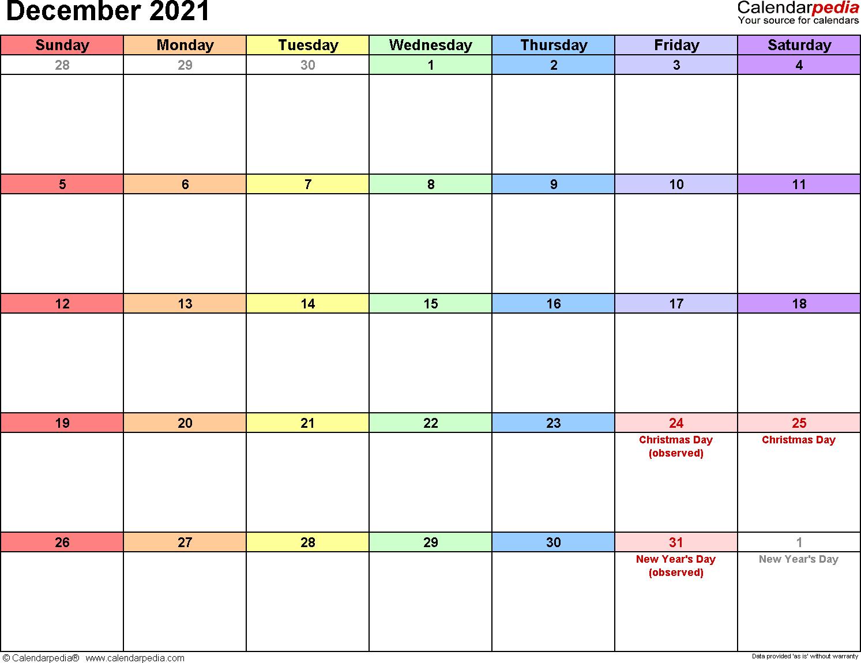 December 2021 calendar printable template