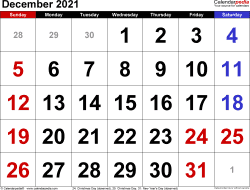 December 2021 calendar, landscape orientation, large numerals, available as printable templates for Word, Excel and PDF