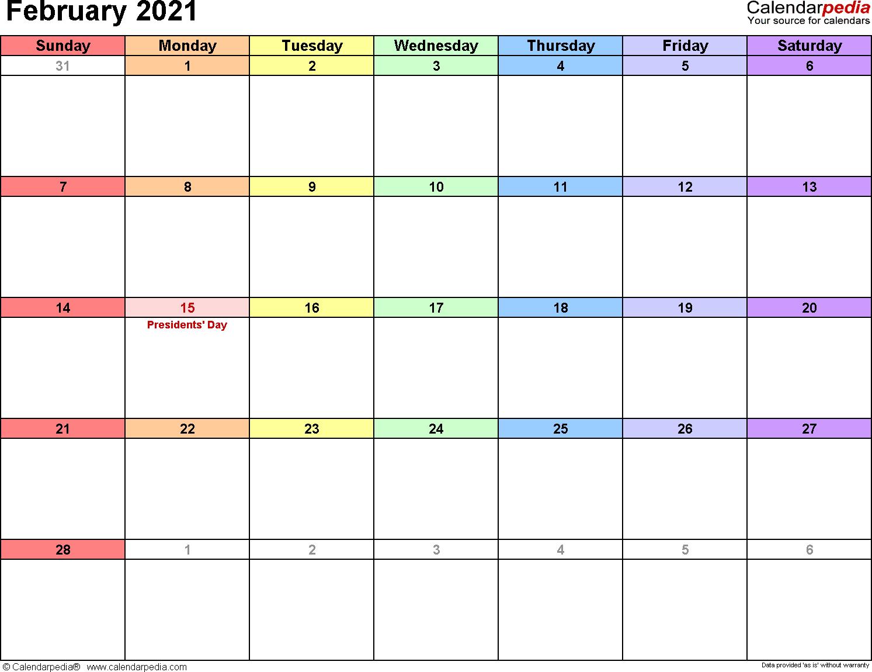 February 2021 calendar printable template