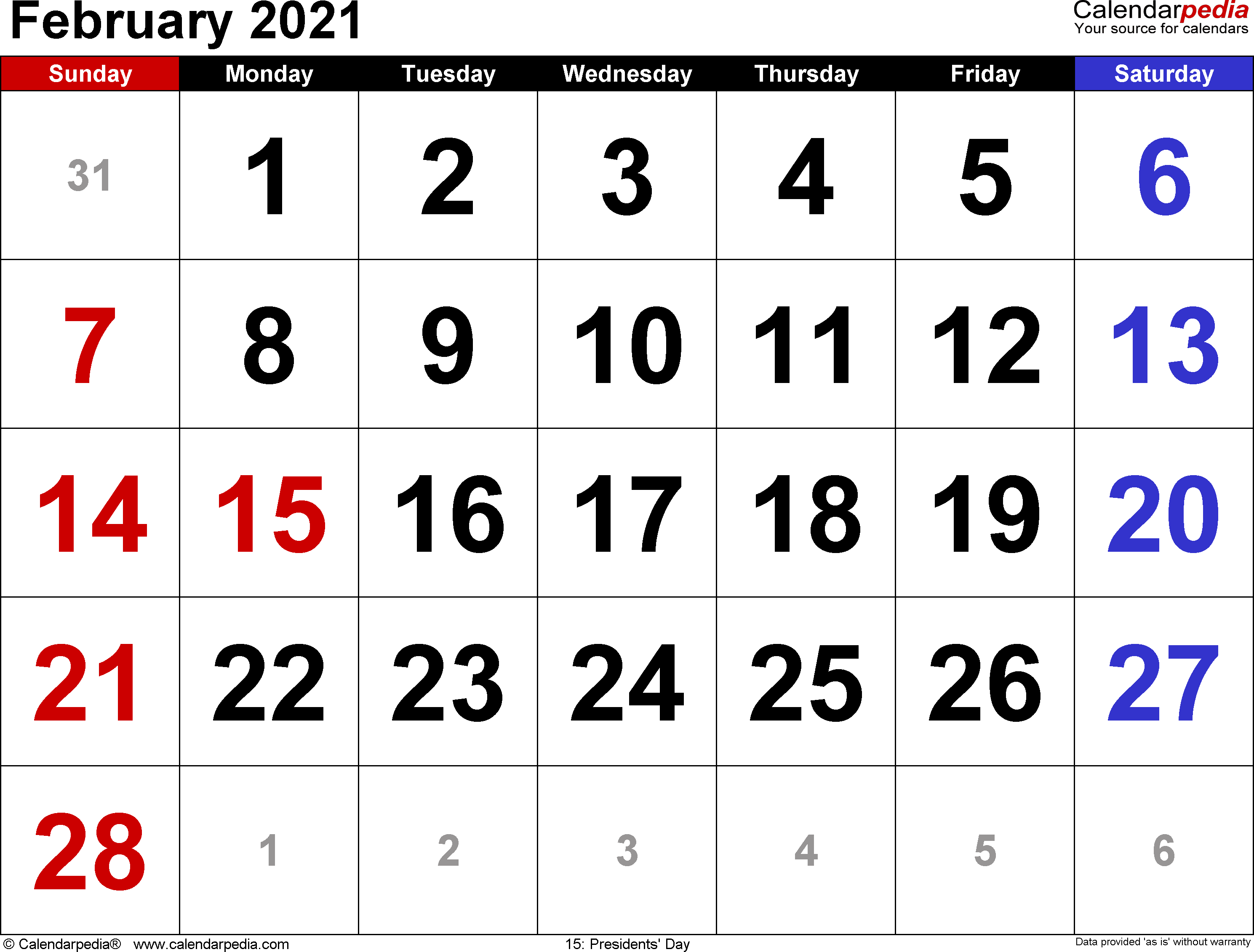 February 2021 Calendars for Word, Excel & PDF