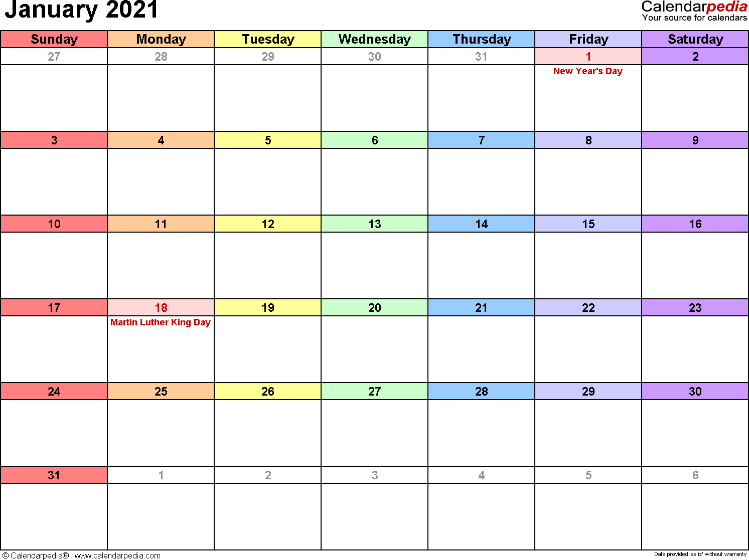 January 2021 - calendar templates for Word, Excel and PDF