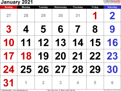 Monthly calendar templates for January 2021 in Microsoft Word format