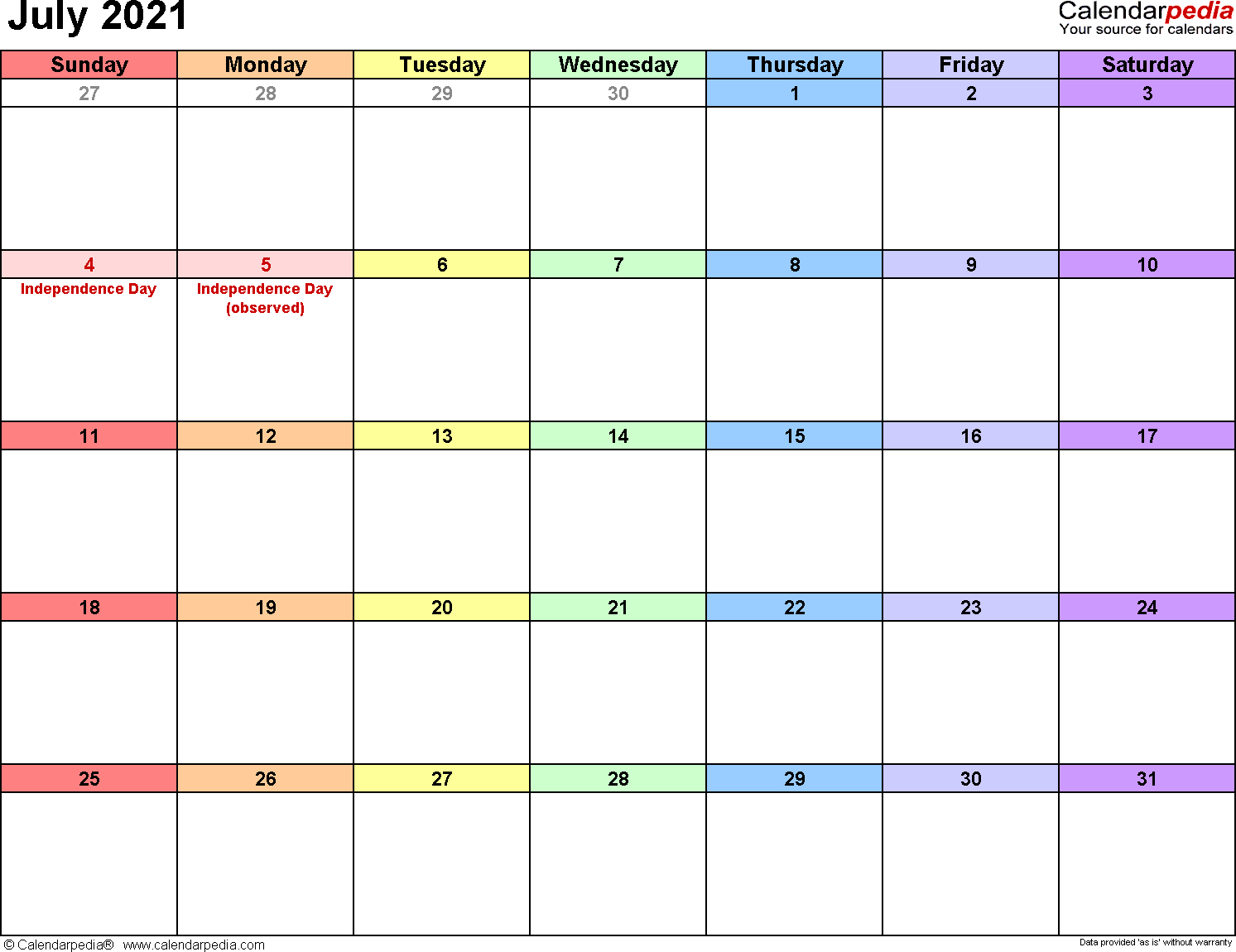 July 2021 calendar printable template