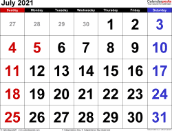July 2021 calendar, landscape orientation, large numerals, available as printable templates for Word, Excel and PDF