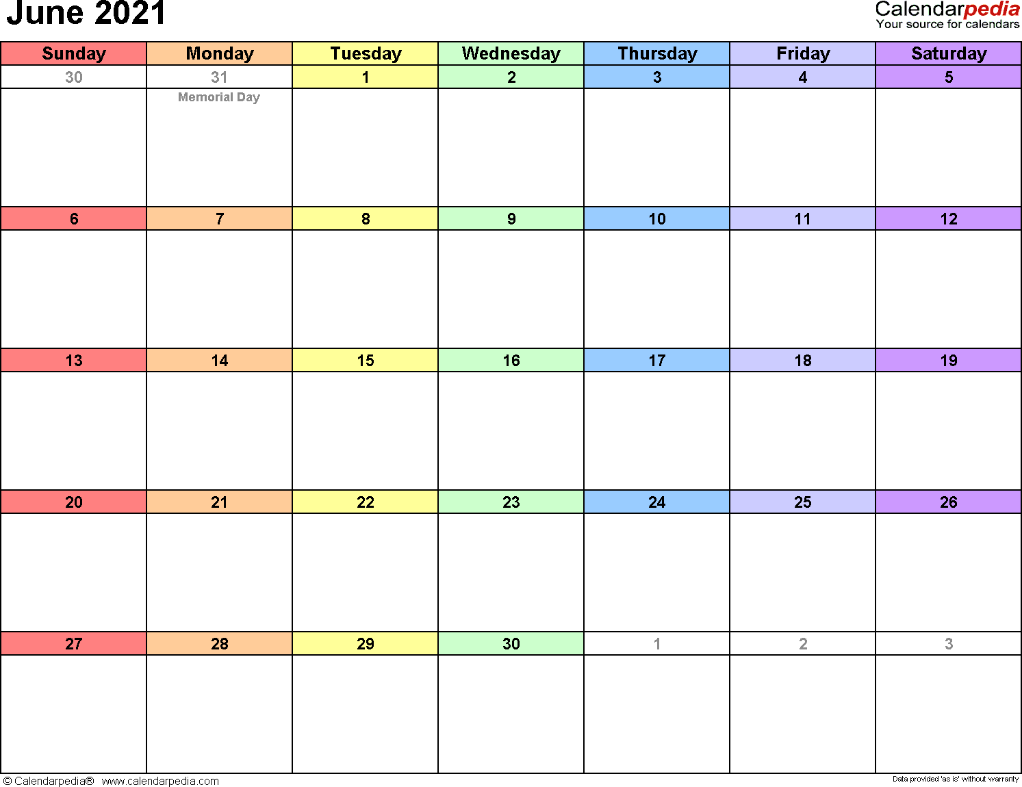 June 2021 - calendar templates for Word, Excel and PDF
