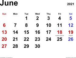 June 2021 calendar, landscape orientation, classic, available as printable templates for Word, Excel and PDF