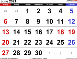 June 2021 calendar, landscape orientation, large numerals, available as printable templates for Word, Excel and PDF