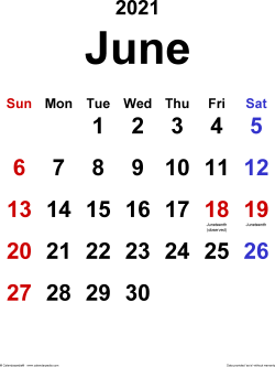 June 2021 calendar, portrait orientation, classic, available as printable templates for Word, Excel and PDF