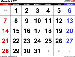 Monthly calendar templates for March 2021 in Microsoft Excel format