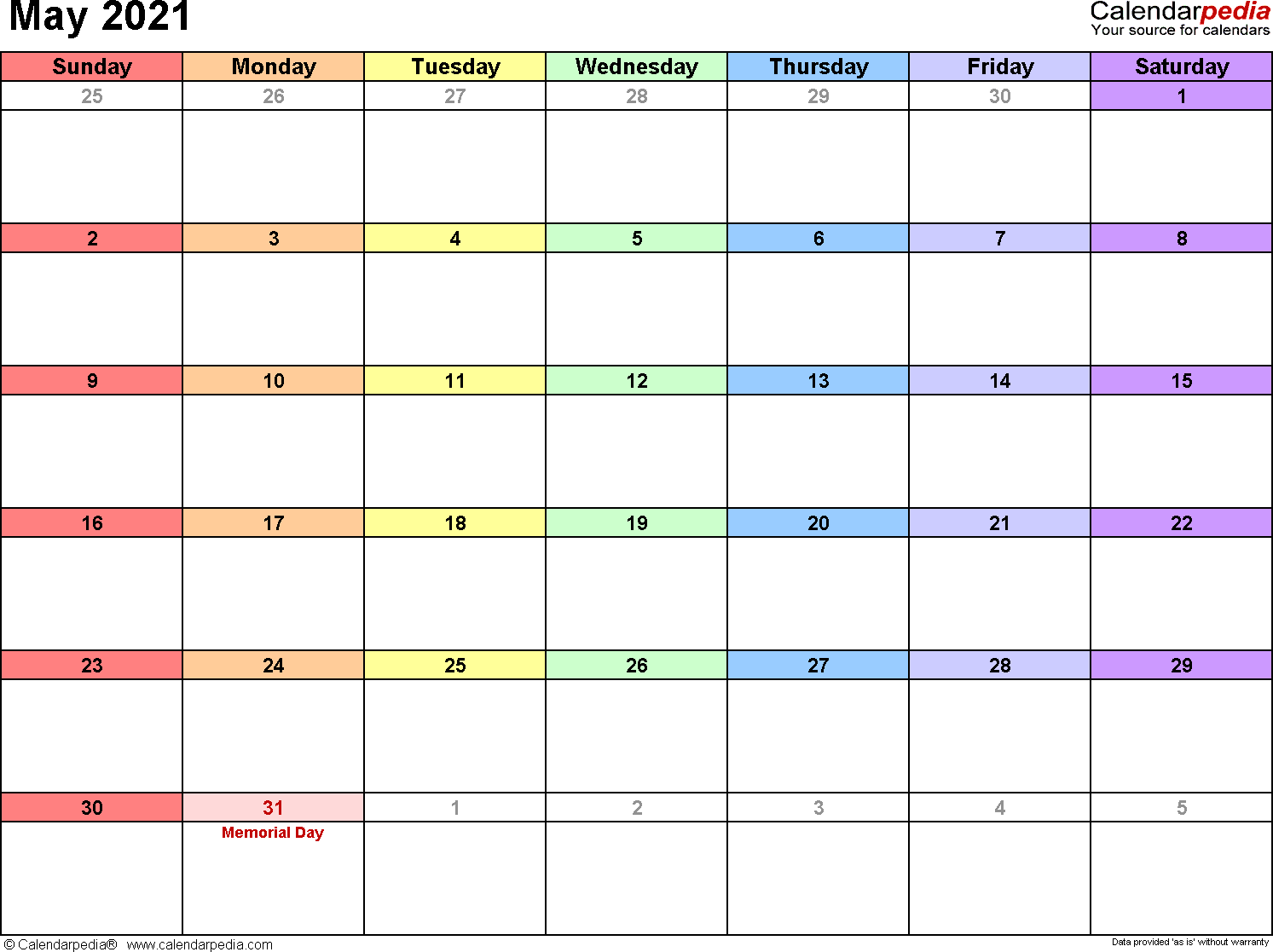 May 2021 - calendar templates for Word, Excel and PDF