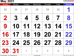 Monthly calendar templates for May 2021 in Microsoft Excel format