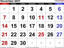 November 2021 calendar, landscape orientation, large numerals, available as printable templates for Word, Excel and PDF