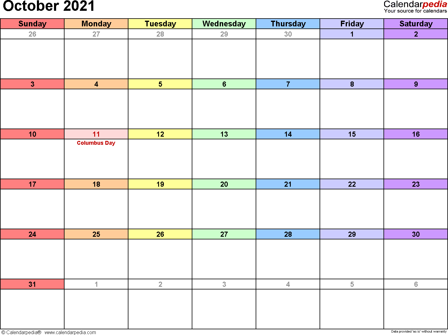 October 2021 calendar printable template