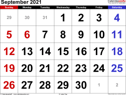 September 2021 calendar, landscape orientation, large numerals, available as printable templates for Word, Excel and PDF