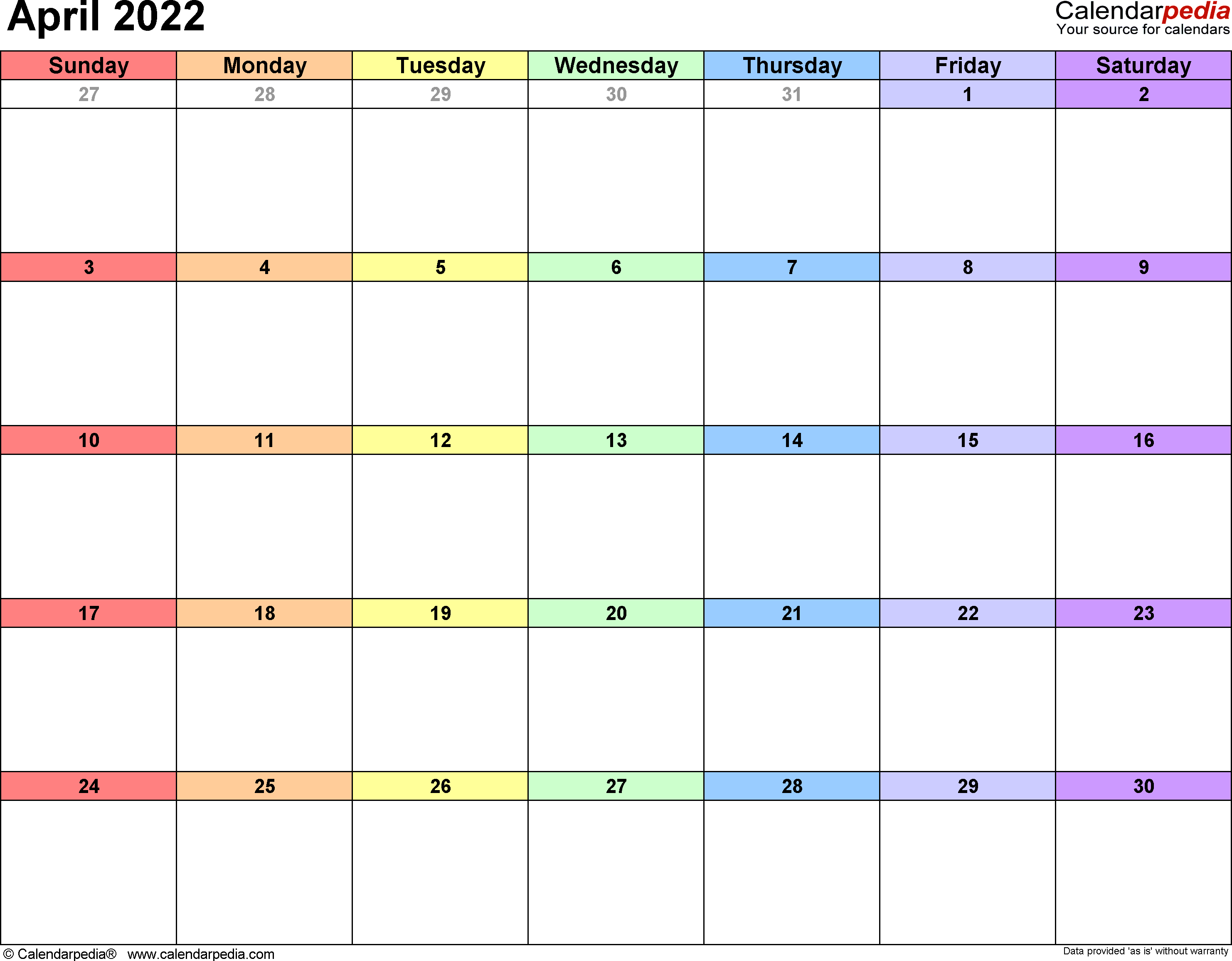 April 2022 calendar printable template