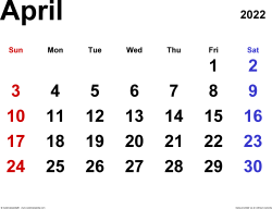 April 2022 calendar, landscape orientation, classic, available as printable templates for Word, Excel and PDF