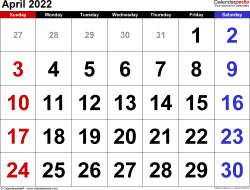 April 2022 calendar, landscape orientation, large numerals, available as printable templates for Word, Excel and PDF