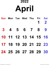 April 2022 calendar, portrait orientation, classic, available as printable templates for Word, Excel and PDF