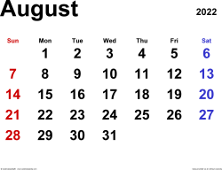 August 2022 calendar, landscape orientation, classic, available as printable templates for Word, Excel and PDF