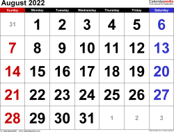 August 2022 calendar, landscape orientation, large numerals, available as printable templates for Word, Excel and PDF