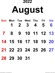 August 2022 calendar, portrait orientation, classic, available as printable templates for Word, Excel and PDF