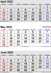 3 months calendar April/May/June 2022 in portrait format