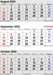 3 months calendar August/September/October 2022 in portrait format