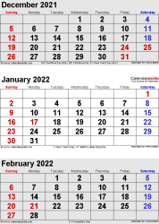 3 months calendar December 2021 / January/February 2022 in portrait format