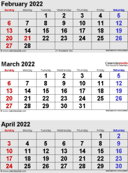3 months calendar February/March/April 2022 in portrait format