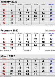 three month calendar January/February/March 2022 in portrait orientation, available as printable templates for Word, Excel and PDF