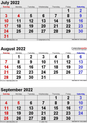 3 months calendar July/August/September 2022 in portrait orientation, available as printable templates for Word, Excel and PDF