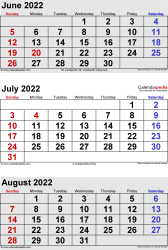 three month calendar June/July/August 2022 in portrait orientation, available as printable templates for Word, Excel and PDF