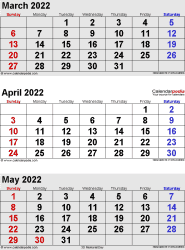 three month calendar March/April/May 2022 in portrait orientation, available as printable templates for Word, Excel and PDF