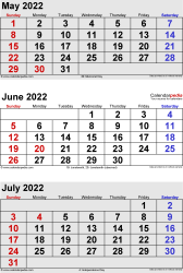 three month calendar May/June/July 2022 in portrait orientation, available as printable templates for Word, Excel and PDF