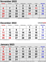 three month calendar November/December 2022 & January 2023 in portrait orientation, available as printable templates for Word, Excel and PDF