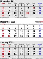 3 months calendar November/December 2022& January 2023 in portrait format
