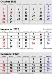three month calendar October/November/December 2022 in portrait orientation, available as printable templates for Word, Excel and PDF