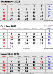 three month calendar September/October/November 2022 in portrait orientation, available as printable templates for Word, Excel and PDF