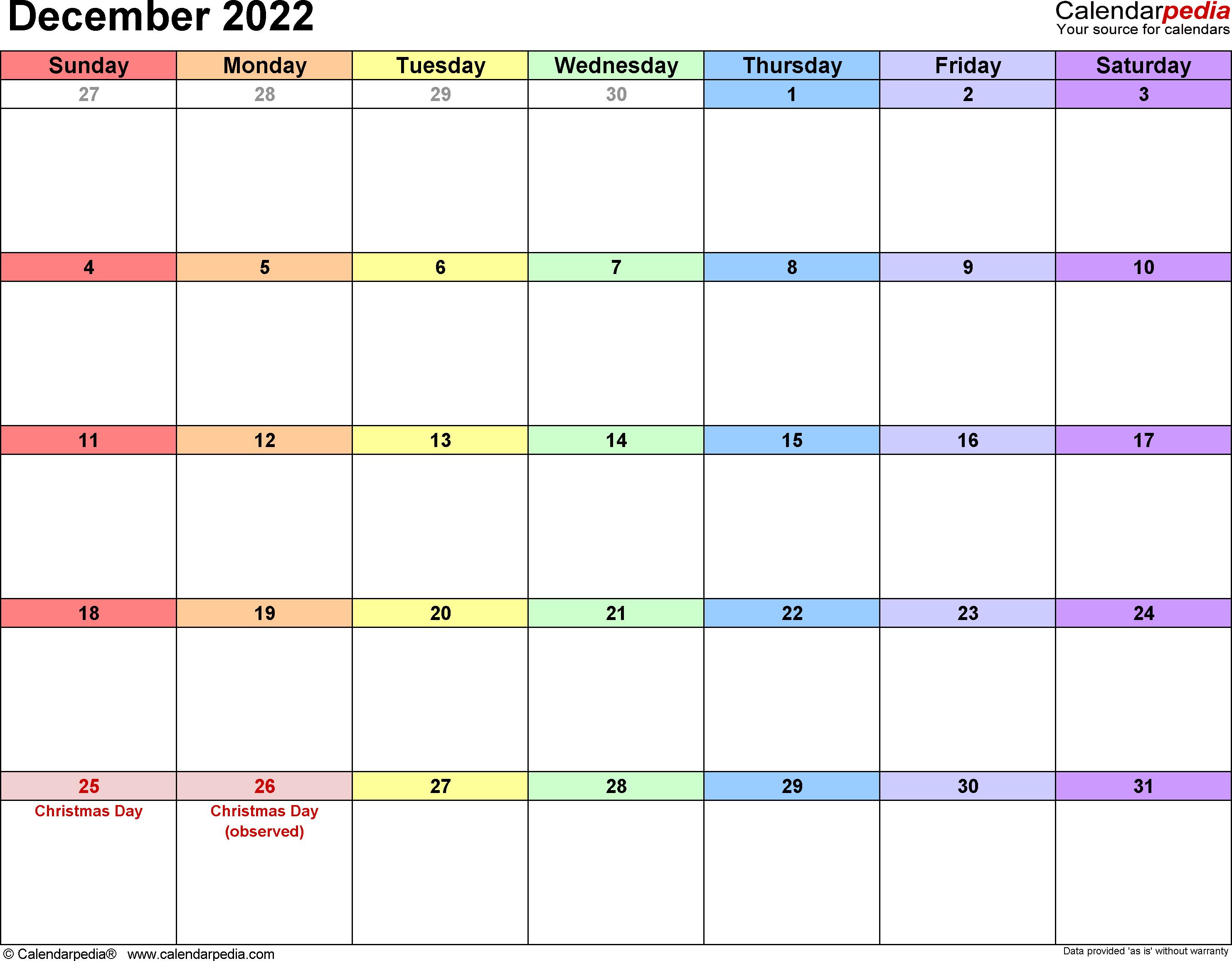 December 2022 calendar printable template