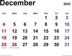 December 2022 calendar, landscape orientation, classic, available as printable templates for Word, Excel and PDF