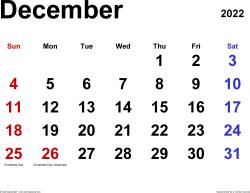 Printable December 2022 Calendar Word.December 2022 Calendar Templates For Word Excel And Pdf