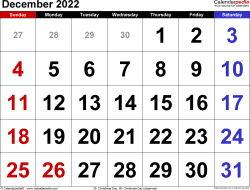 December 2022 calendar, landscape orientation, large numerals, available as printable templates for Word, Excel and PDF