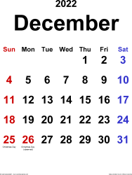 December 2022 calendar, portrait orientation, classic, available as printable templates for Word, Excel and PDF