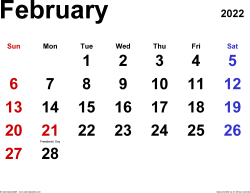 February 2022 calendar, landscape orientation, classic, available as printable templates for Word, Excel and PDF