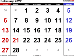 February 2022 calendar, landscape orientation, large numerals, available as printable templates for Word, Excel and PDF