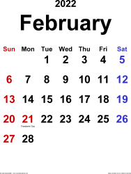 February 2022 calendar, portrait orientation, classic, available as printable templates for Word, Excel and PDF