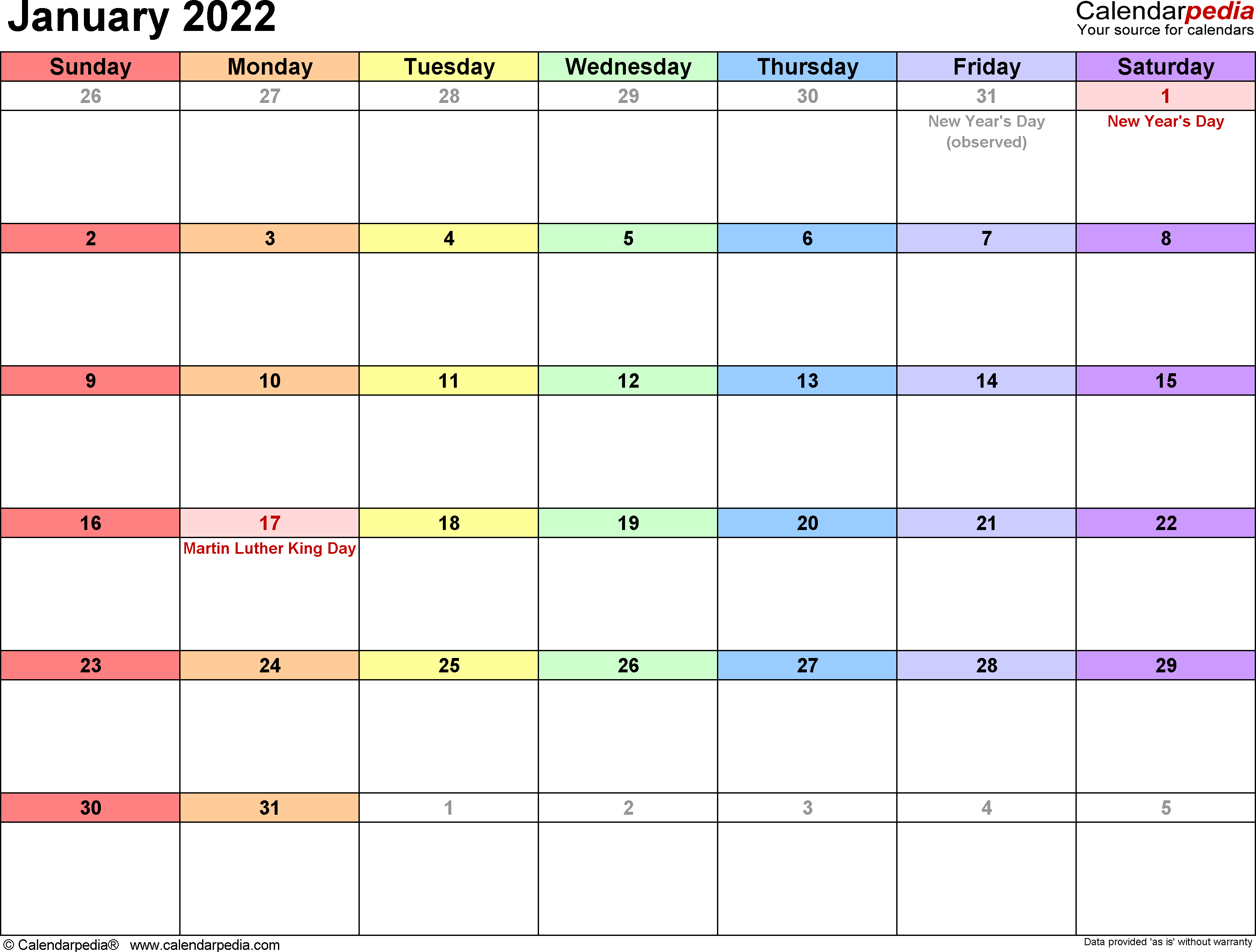 January 2022 calendar printable template