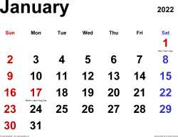 January 2022 calendar, landscape orientation, classic, available as printable templates for Word, Excel and PDF